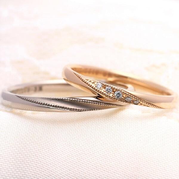 ミルグレインを施したピンクゴールドの人気結婚指輪