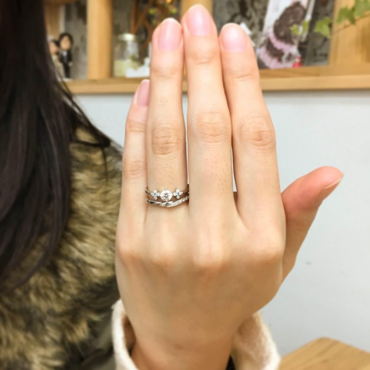 重ねつけの素敵な指輪