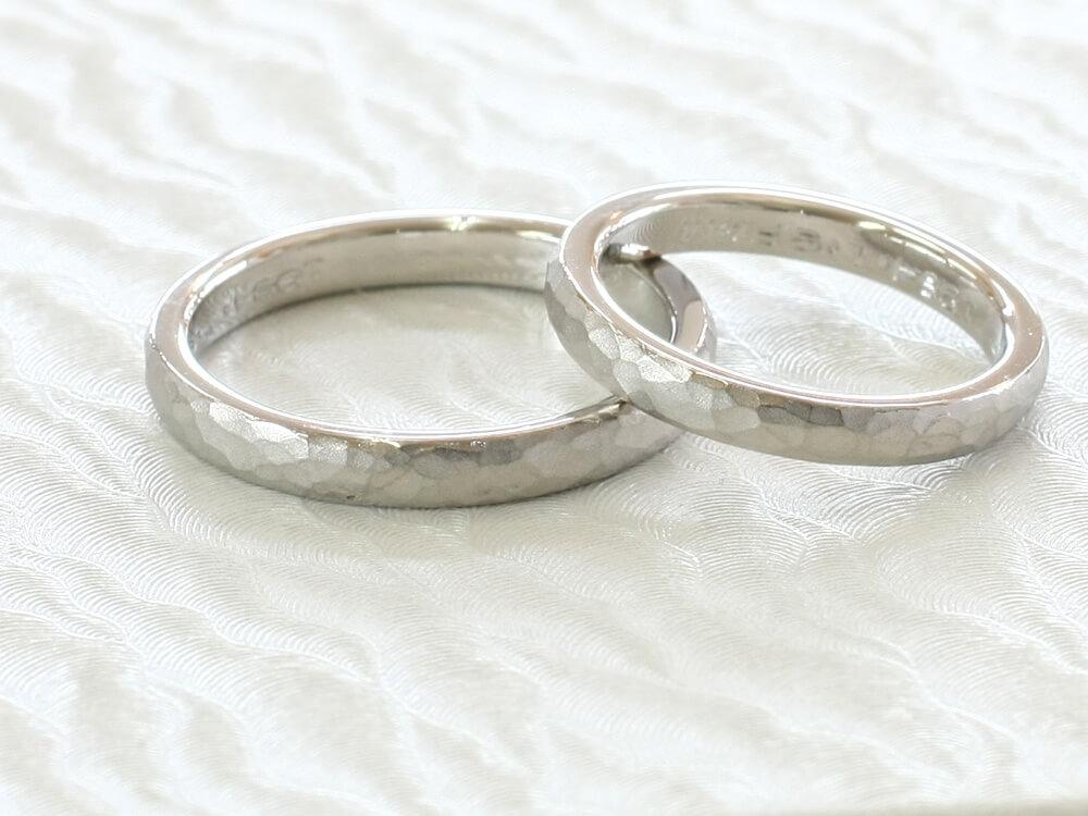 槌目(ハンマー)仕上げの結婚指輪に作りかえ