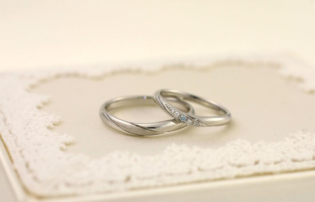 結婚指輪のアレンジ_アイスブルーダイヤモンド