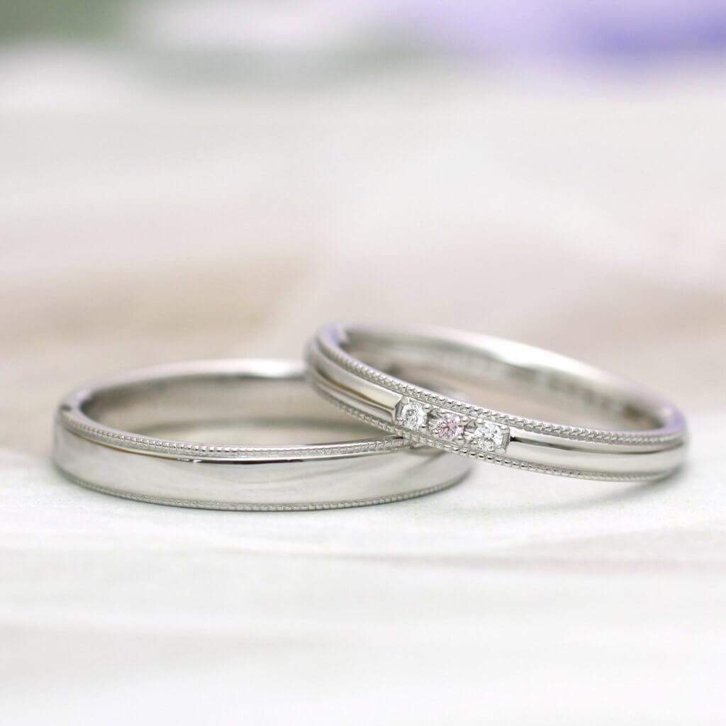 人気の結婚指輪ミル打ちとピンクダイヤ